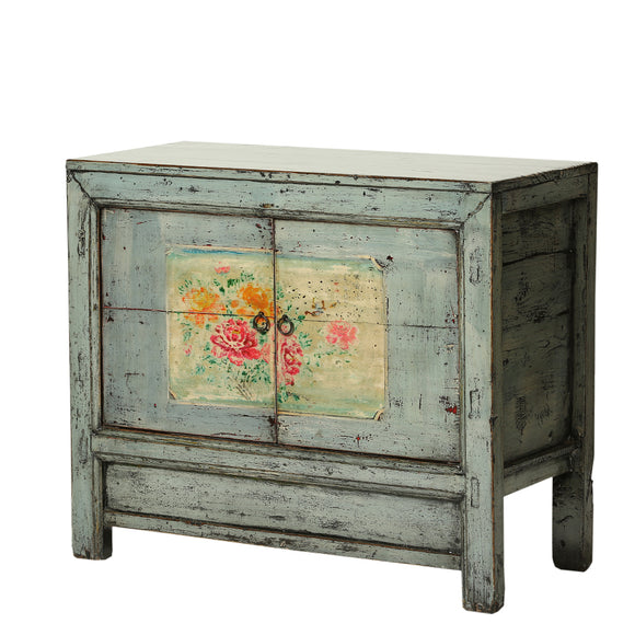Vintage Cabinet from Gansu with Faded Peonies - Chinese homewares- Rouge Shop antique stores London - city furniture