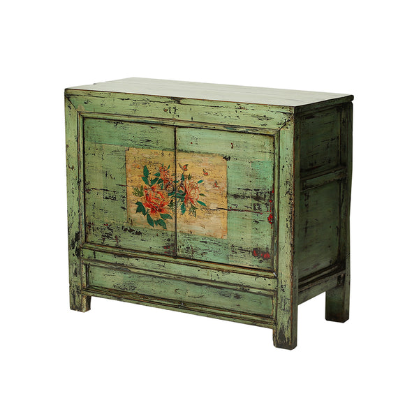 Vintage Green Pine Cabinet from Gansu - Chinese homewares- Rouge Shop antique stores London - city furniture