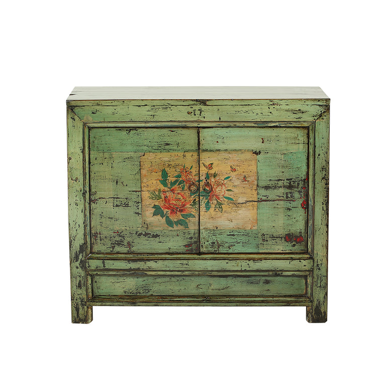 Vintage Green Pine Cabinet from Gansu