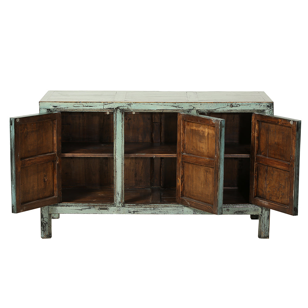 Pastel Green Vintage Three-Door Sideboard from Gansu - Chinese homewares- Rouge Shop antique stores London - city furniture