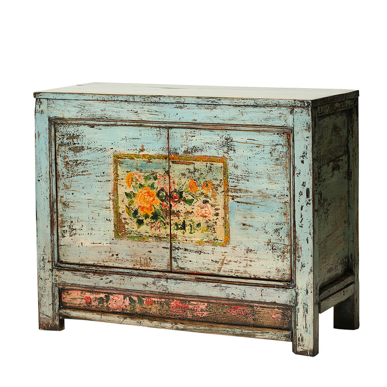 Vintage Steel Blue Cabinet from Gansu with Floral Motifs - Chinese homewares- Rouge Shop antique stores London - city furniture