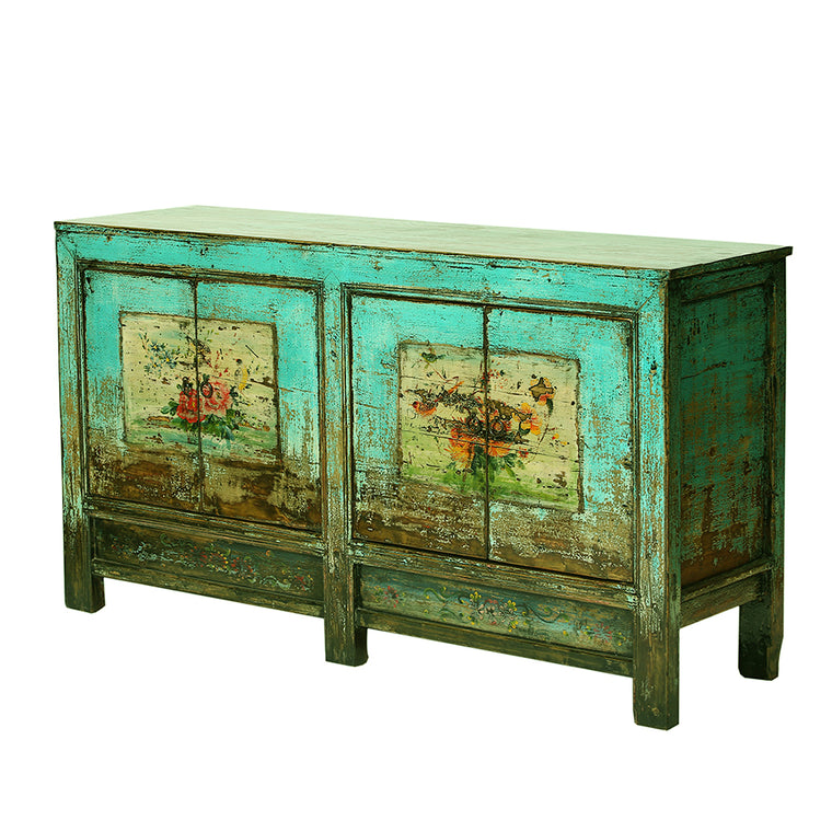 Turquoise Vintage Sideboard from Gansu with Faded Floral Motifs - Chinese homewares- Rouge Shop antique stores London - city furniture