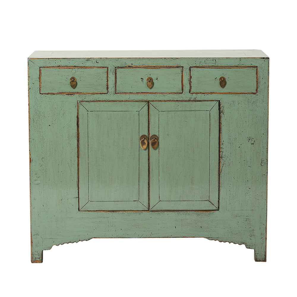 Vintage Chinese Green Cabinet from Shandong