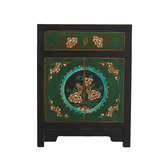 Mongolian Style Cabinet with Painted Peonies