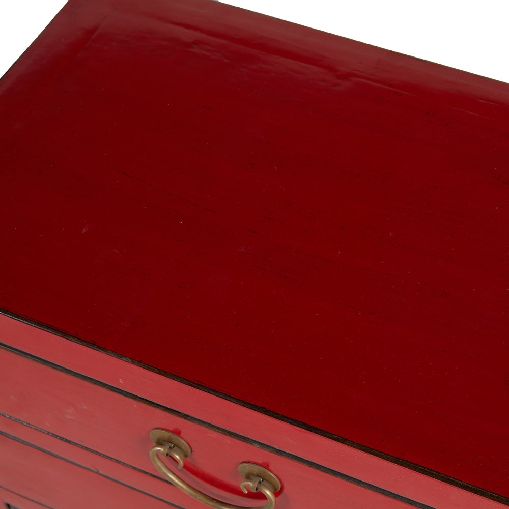 Red Chinese Bedside Chest of Drawers - Chinese homewares- Rouge Shop antique stores London - city furniture
