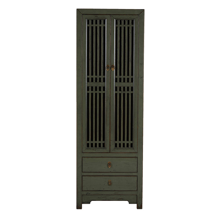 Tall Green Chinese Cabinet with Slatted Doors - Chinese homewares- Rouge Shop antique stores London - city furniture