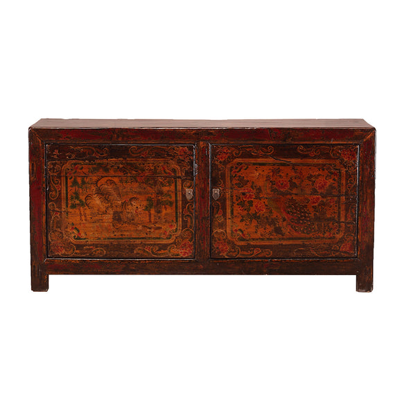 Vintage Sideboard from Shanxi with Tiger and Peacock Motifs