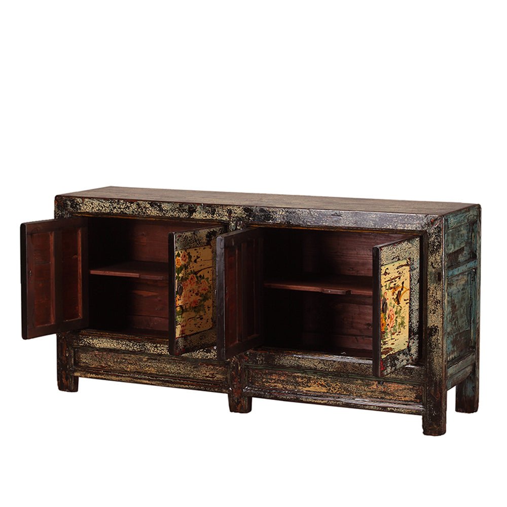 Vintage Sideboard from Shanxi with Painted Peonies