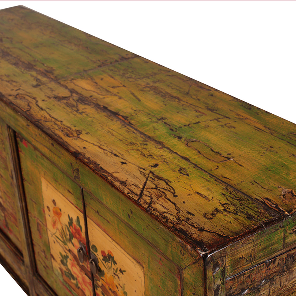 Green Vintage Sideboard from Shanxi with Painted Flowers - Chinese homewares- Rouge Shop antique stores London - city furniture