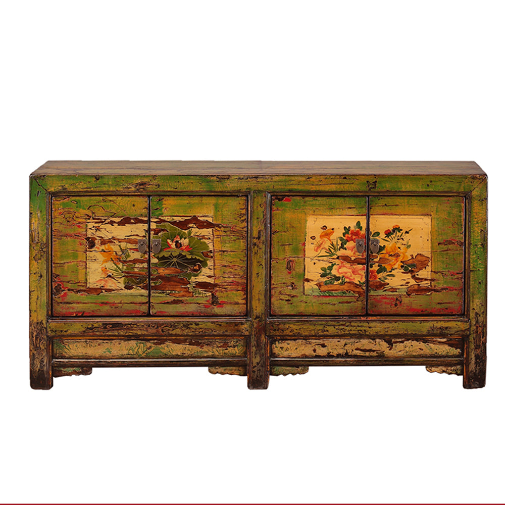 Green Vintage Sideboard from Shanxi with Painted Flowers