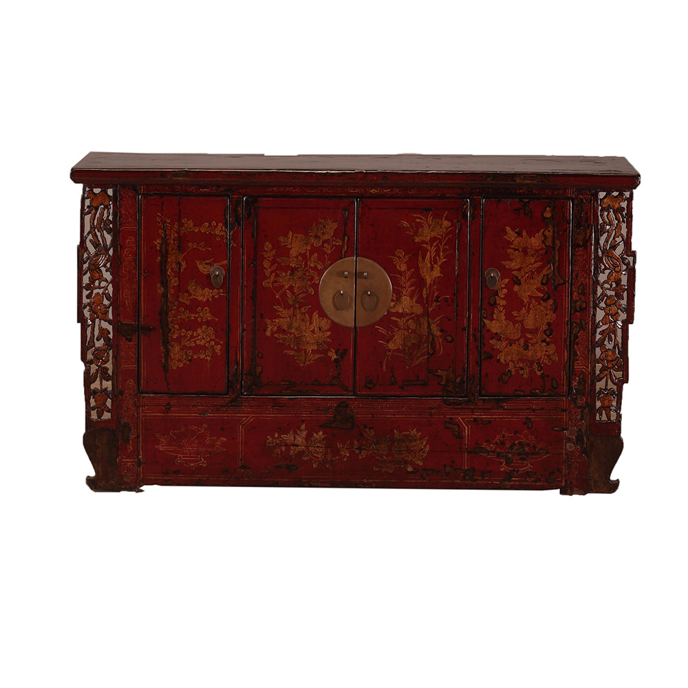 Vintage Chinese Sideboard from Shanxi with Ornate Fretwork