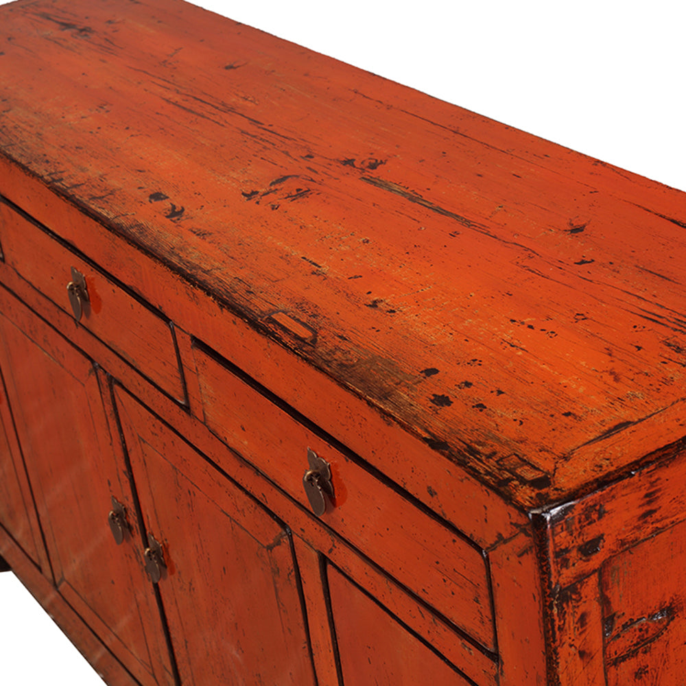 Vintage Orange Chinese Sideboard from Dongbei