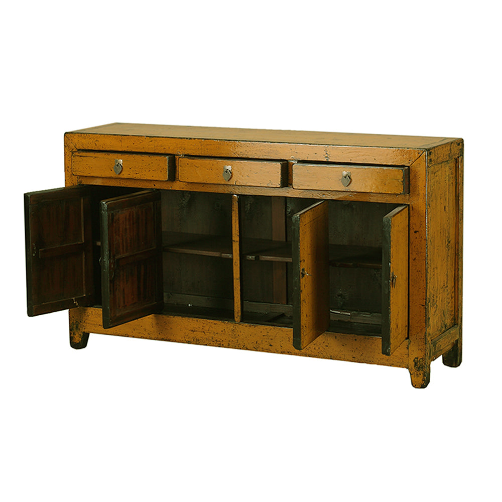 Vintage Yellow Ochre Chinese Sideboard from Dongbei