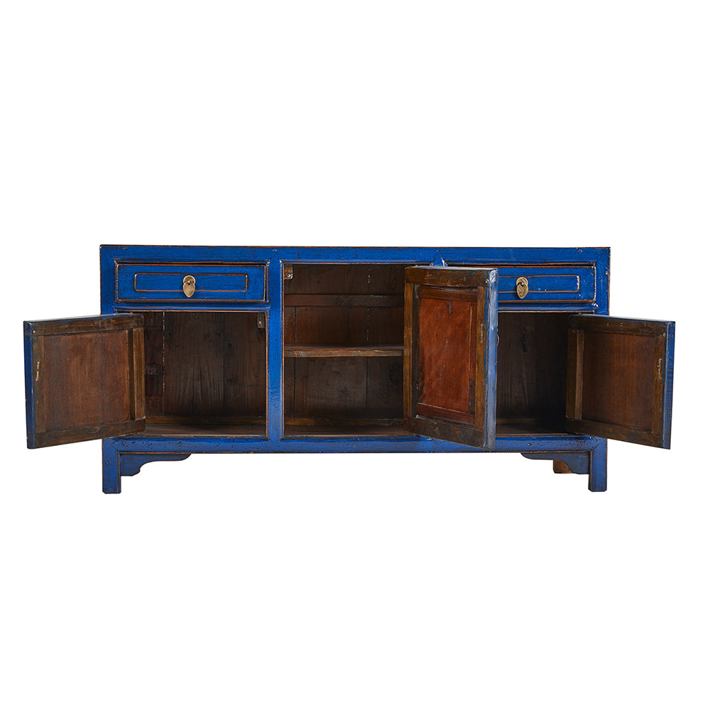Low Blue Vintage Chinese Sideboard from Beijing