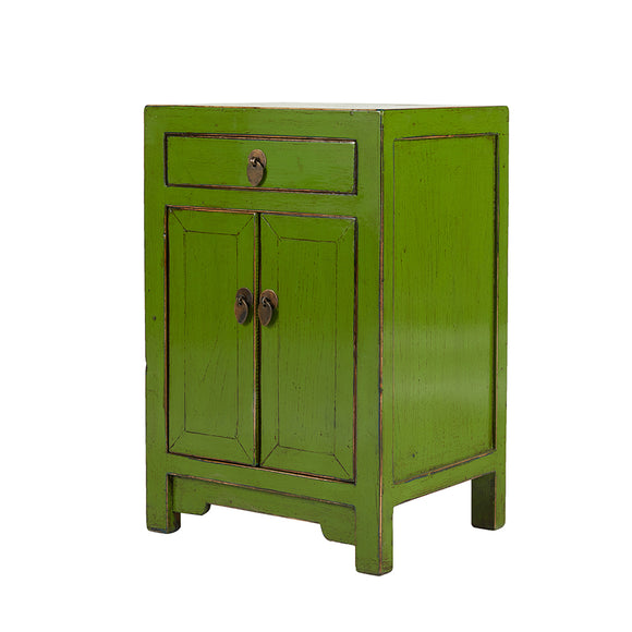 Green Chinese Bedside Cabinet Shandong Style