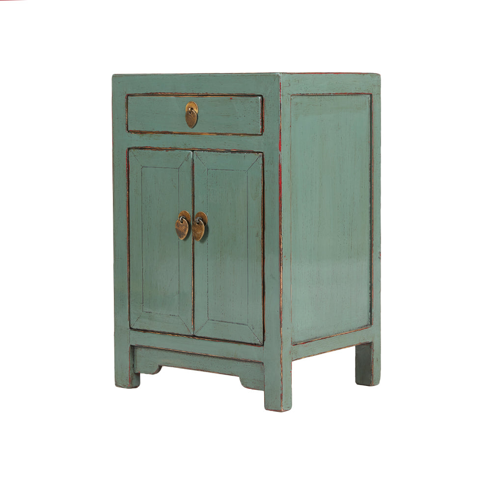 Green Grey Chinese Bedside Cabinet Shandong Style