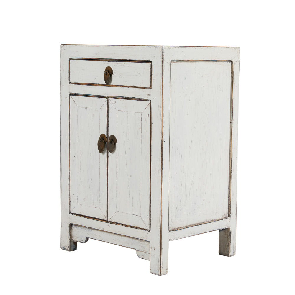 White Chinese Bedside Cabinet Shandong Style