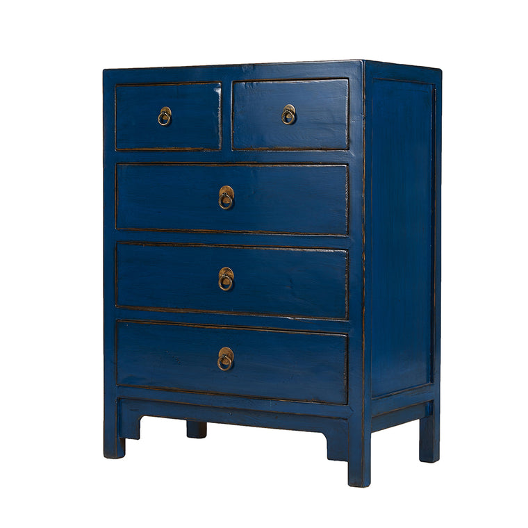 Blue Chinese Chest of Drawers - Chinese homewares- Rouge Shop antique stores London - city furniture