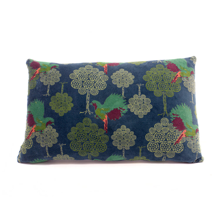 Cotton Velvet Cushion - Atlantic Bird