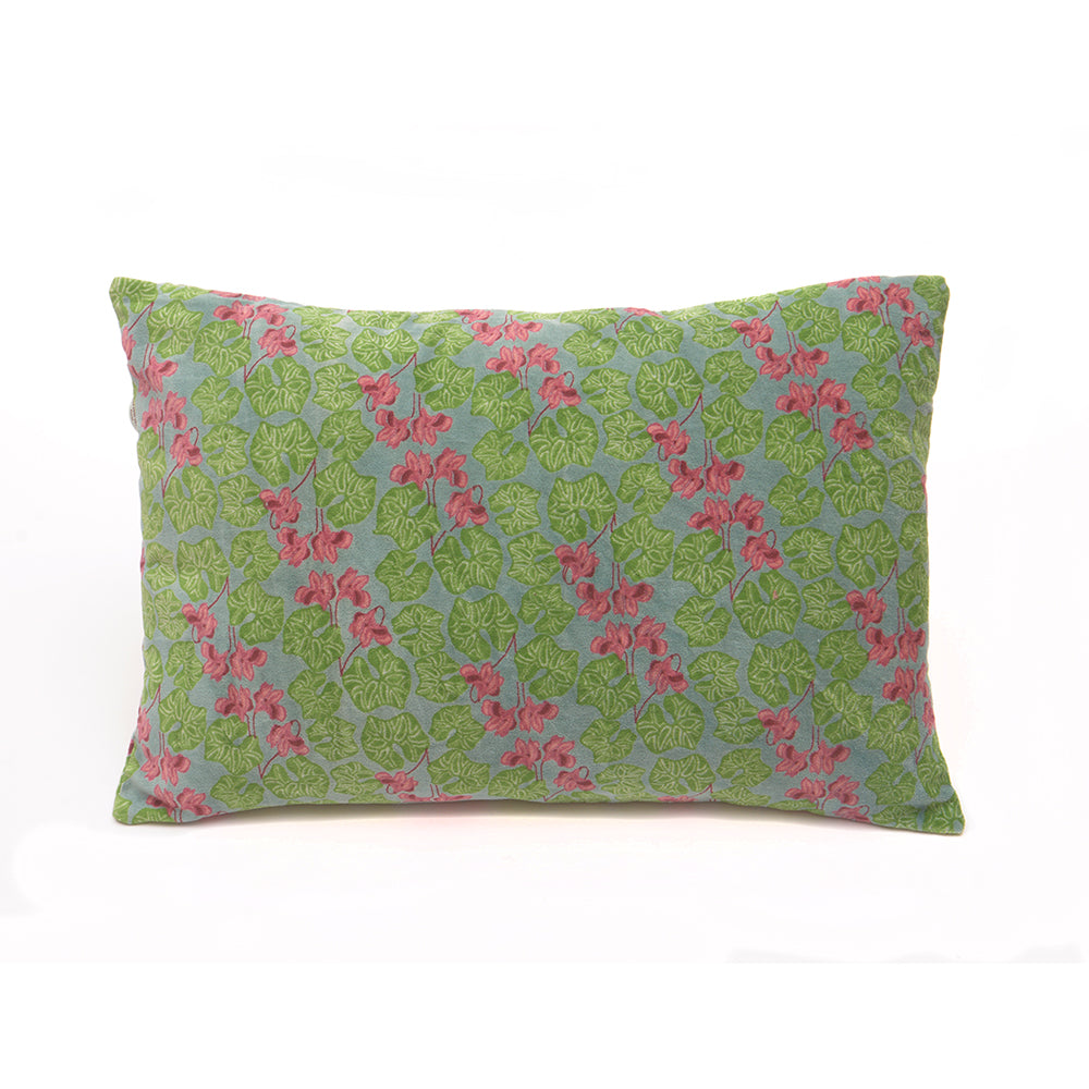 Cotton Velvet Cushion - Cyclamen Silex - Chinese homewares- Rouge Shop antique stores London - city furniture