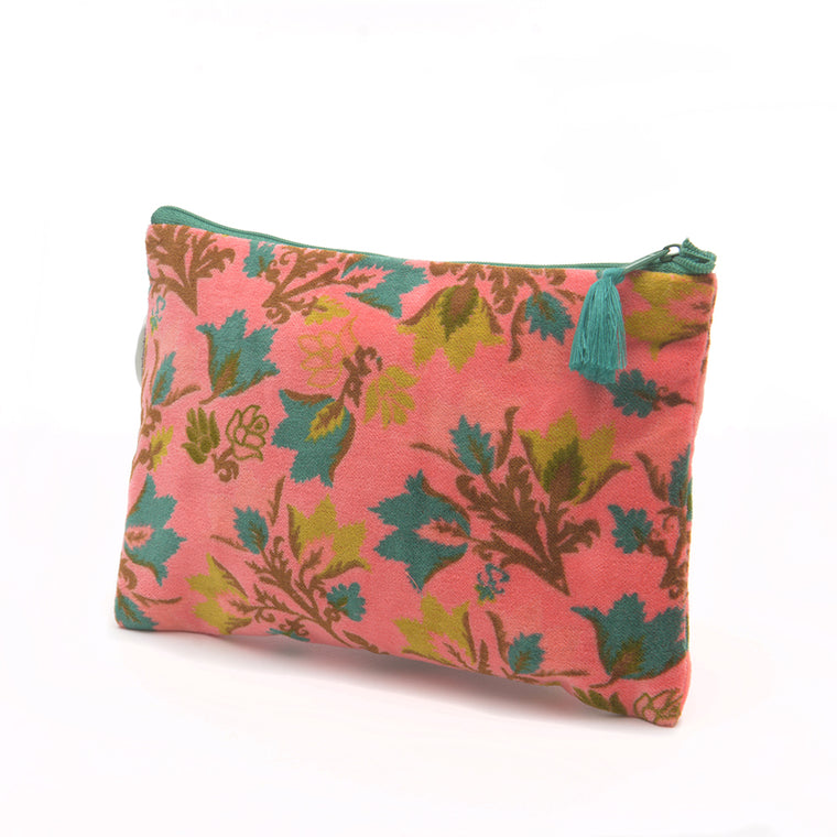 Cotton Velvet Cosmetics Bag - Suzani Candy - Chinese homewares- Rouge Shop antique stores London - city furniture