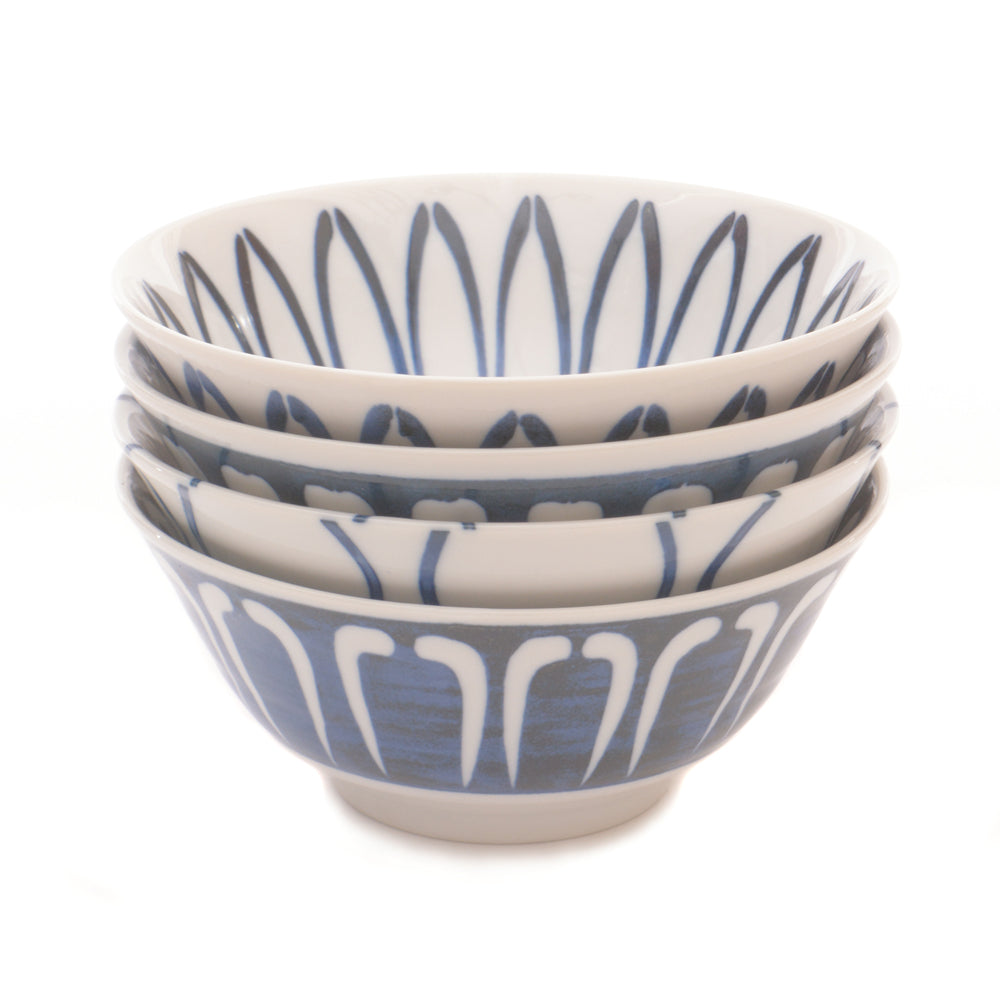 Navy Blue and White Four Bowl