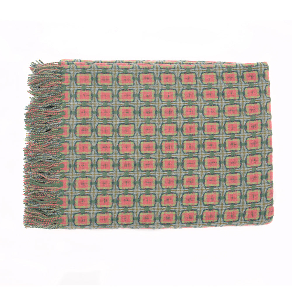 Green and Coral Basket Weave Throw by Paulette Rollo