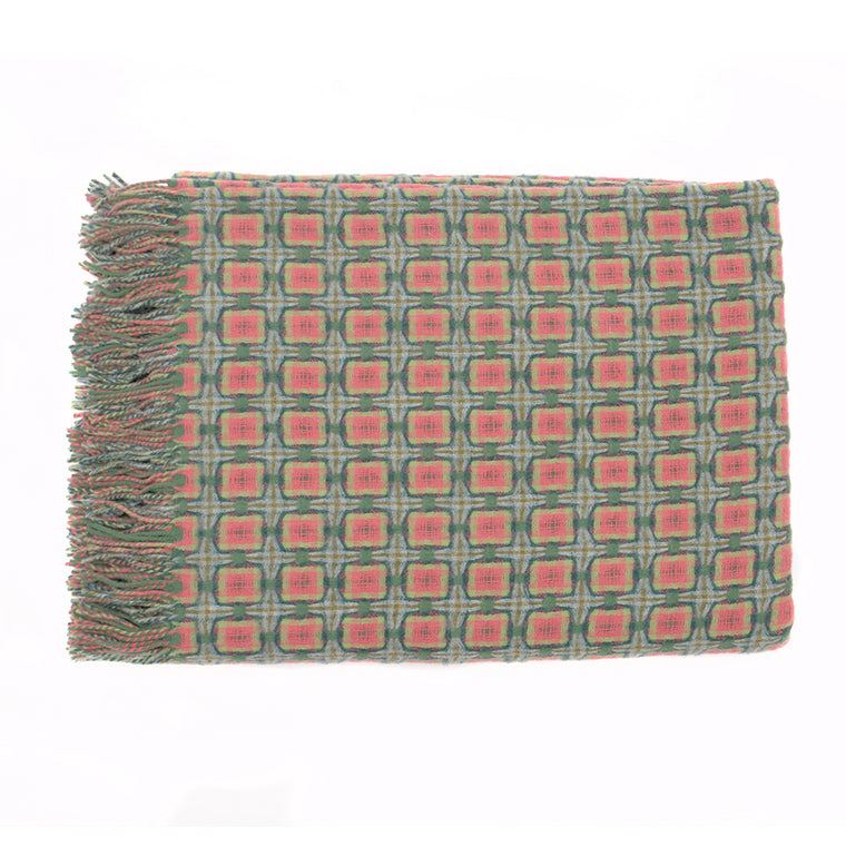 Green and Coral Basket Weave Throw by Paulette Rollo - Chinese homewares- Rouge Shop antique stores London - city furniture