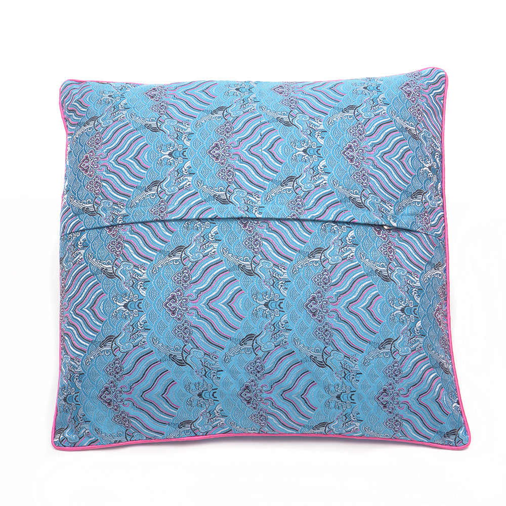 Chinese Cloud Brocade Cushion - Small Blue - Chinese homewares- Rouge Shop antique stores London - city furniture