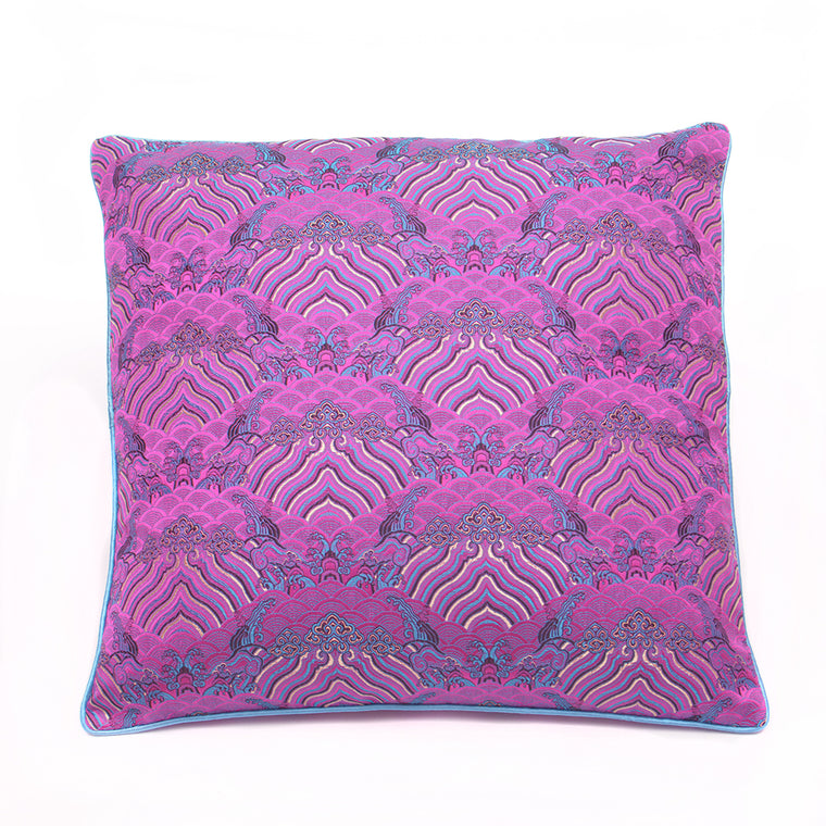 Chinese Cloud Brocade Cushion - Small Purple - Chinese homewares- Rouge Shop antique stores London - city furniture