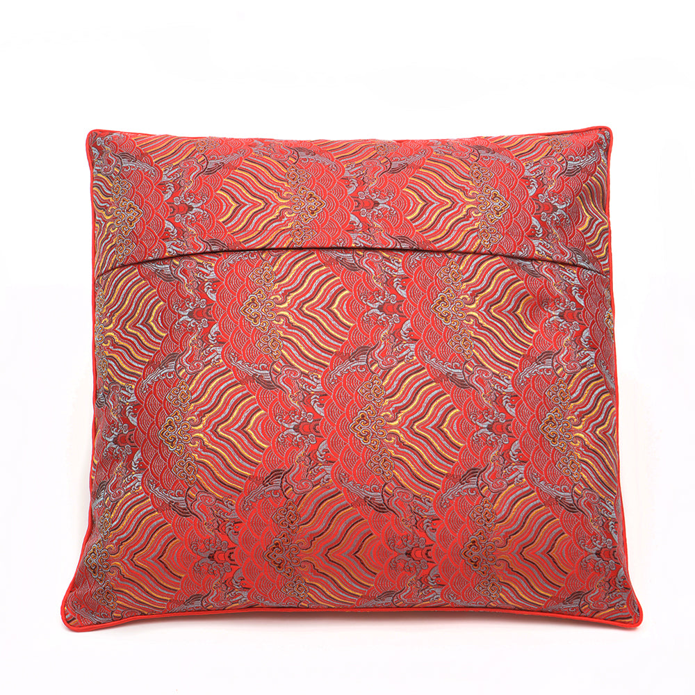 Chinese Cloud Brocade Cushion - Small Red - Chinese homewares- Rouge Shop antique stores London - city furniture