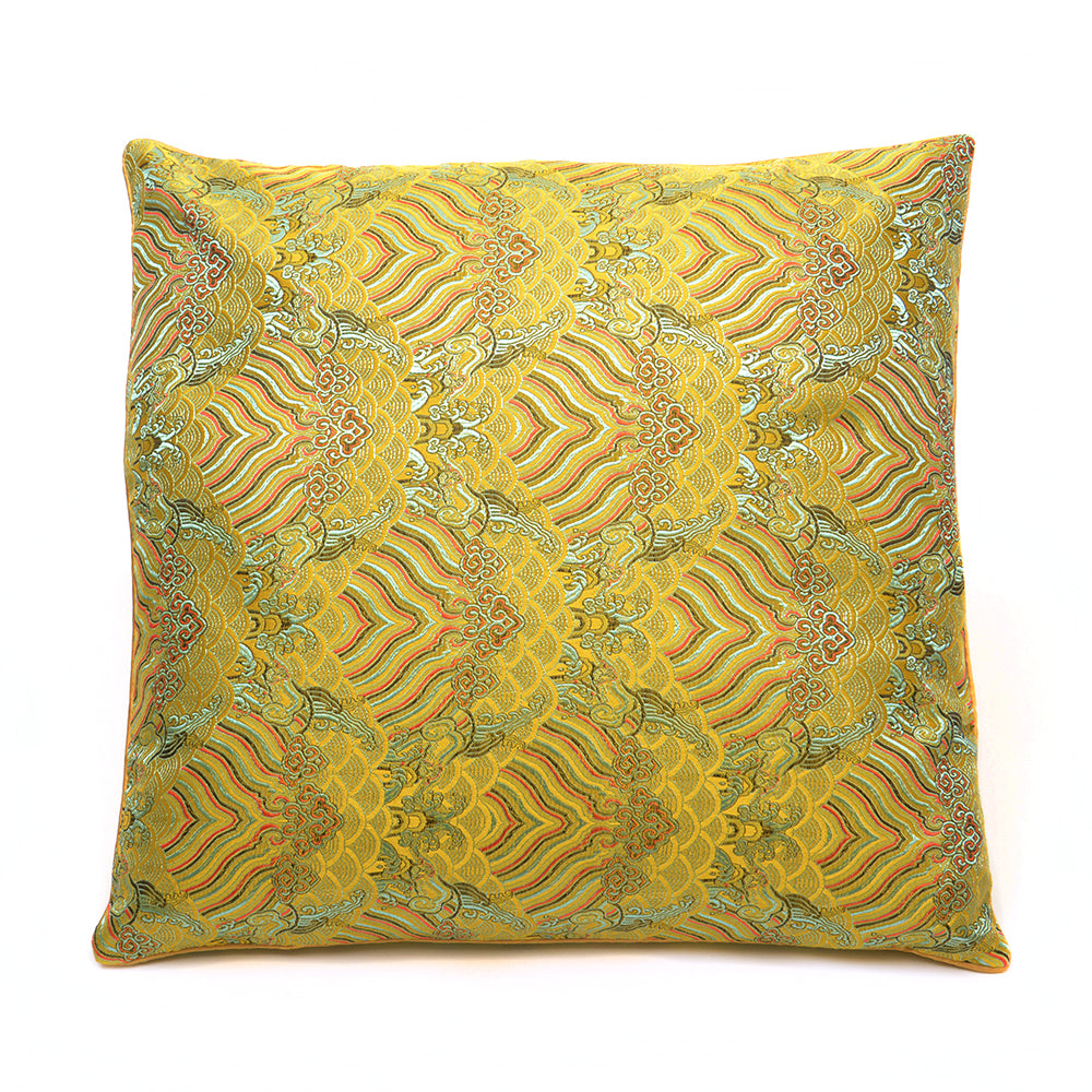 Chinese Cloud Brocade Cushion - Small Yellow - Chinese homewares- Rouge Shop antique stores London - city furniture