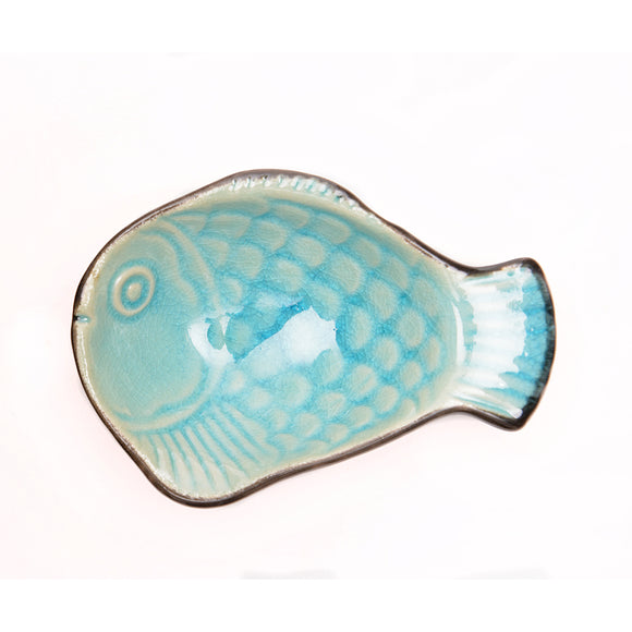 Turquoise Glass Crackle Glaze Fish Dish - Chinese homewares- Rouge Shop antique stores London - city furniture
