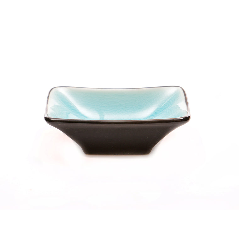 Turquoise Glass Crackle Glaze Tapered Dish