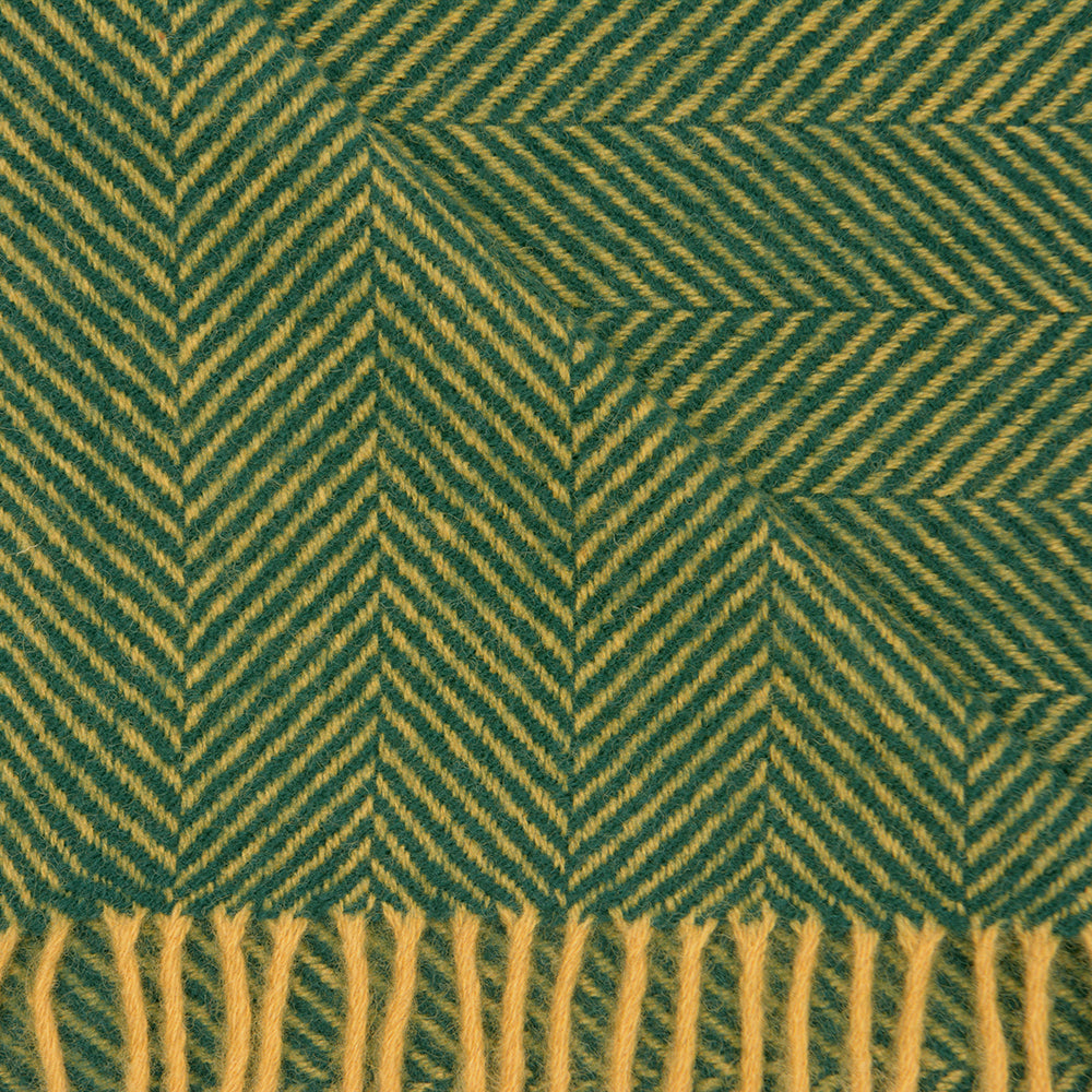 Pure New Wool Herringbone Weave Blanket - Emerald and Mustard - Chinese homewares- Rouge Shop antique stores London - city furniture