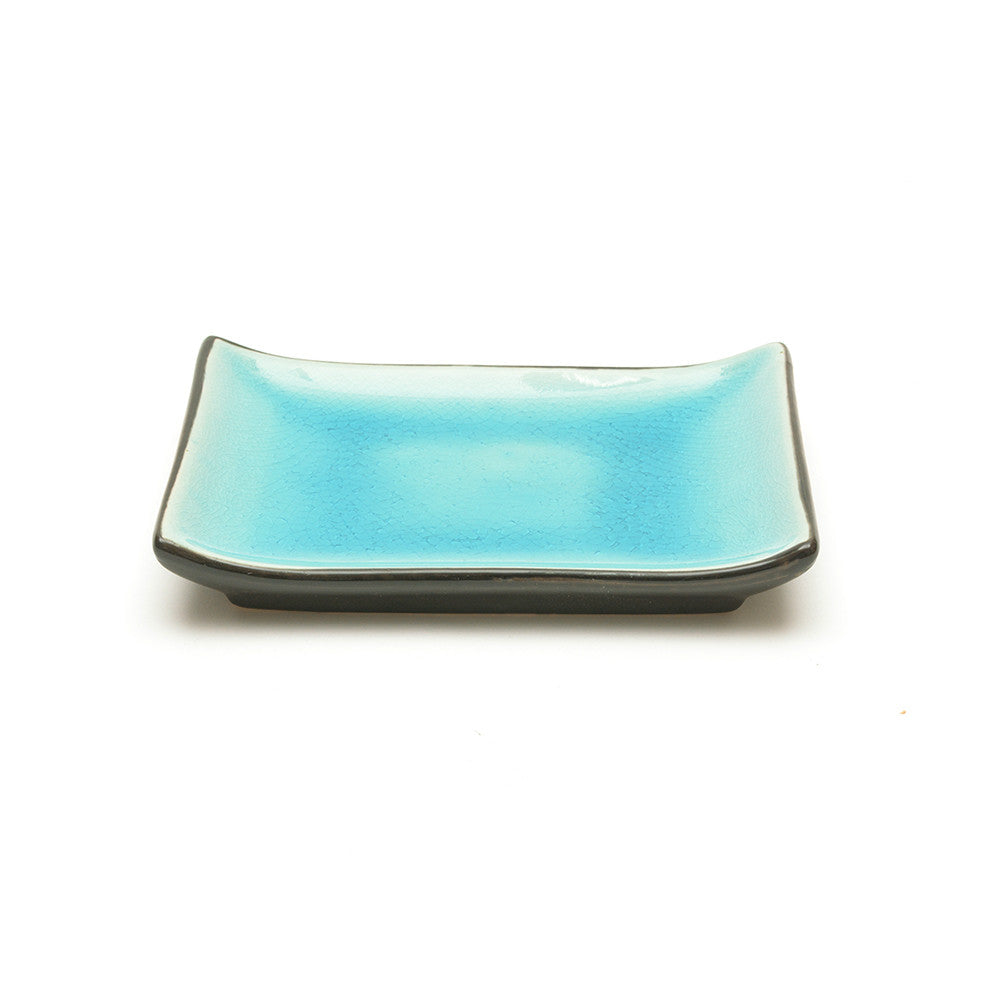 Turquoise Crackle Glass Glaze Rectangular Plate