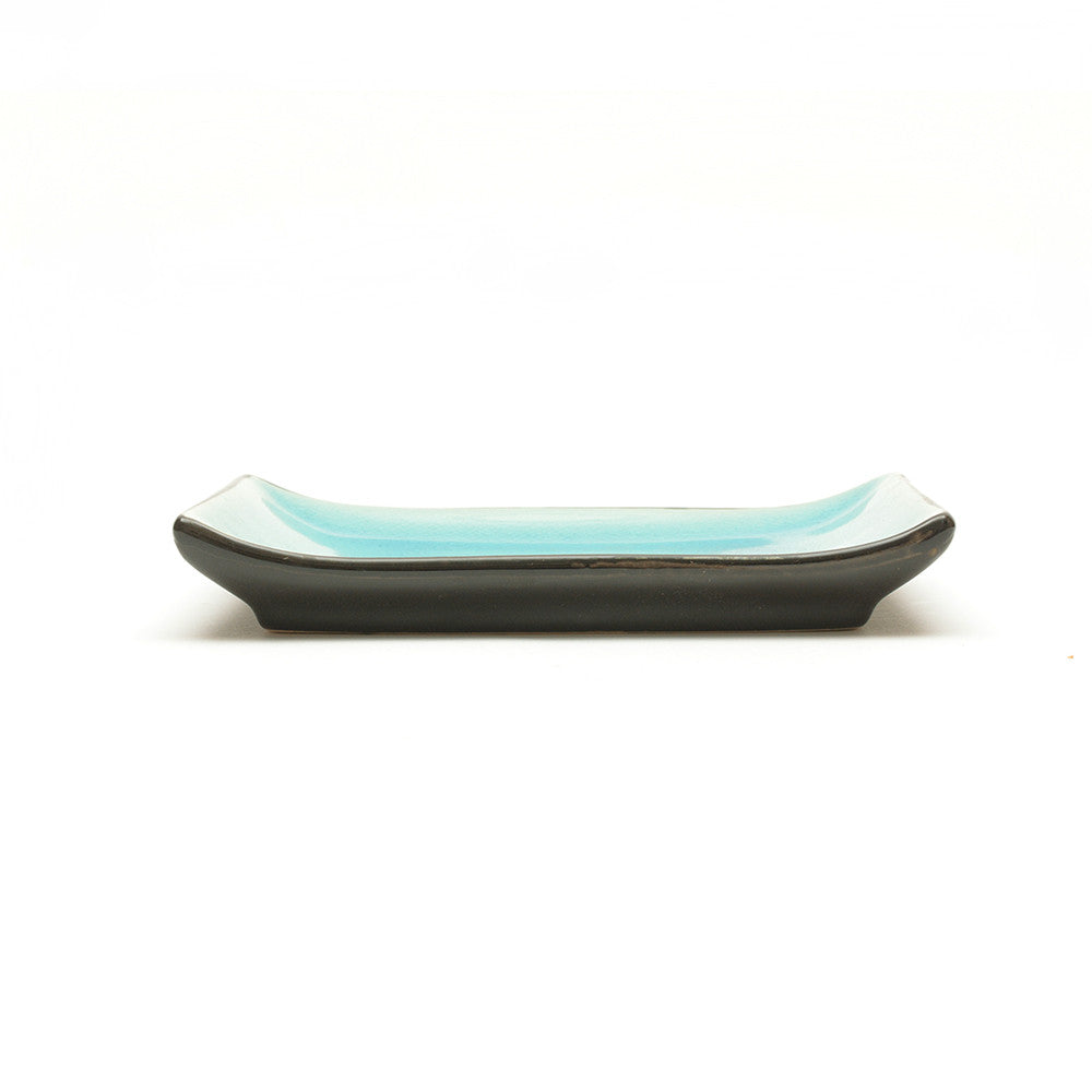 Turquoise Crackle Glass Glaze Rectangular Plate side view