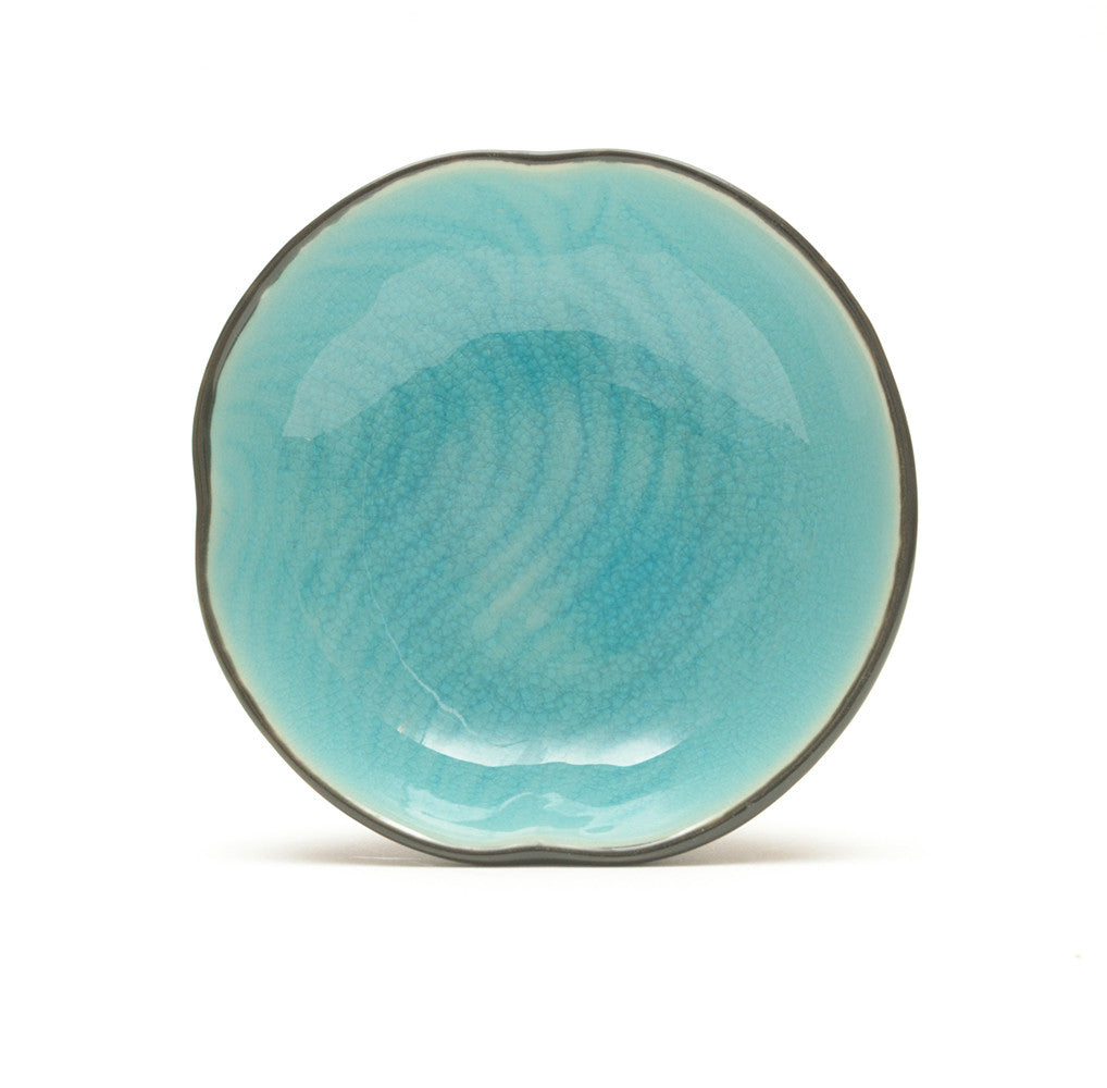Turquoise Crackle Glass Glaze Dimpled Dish from above