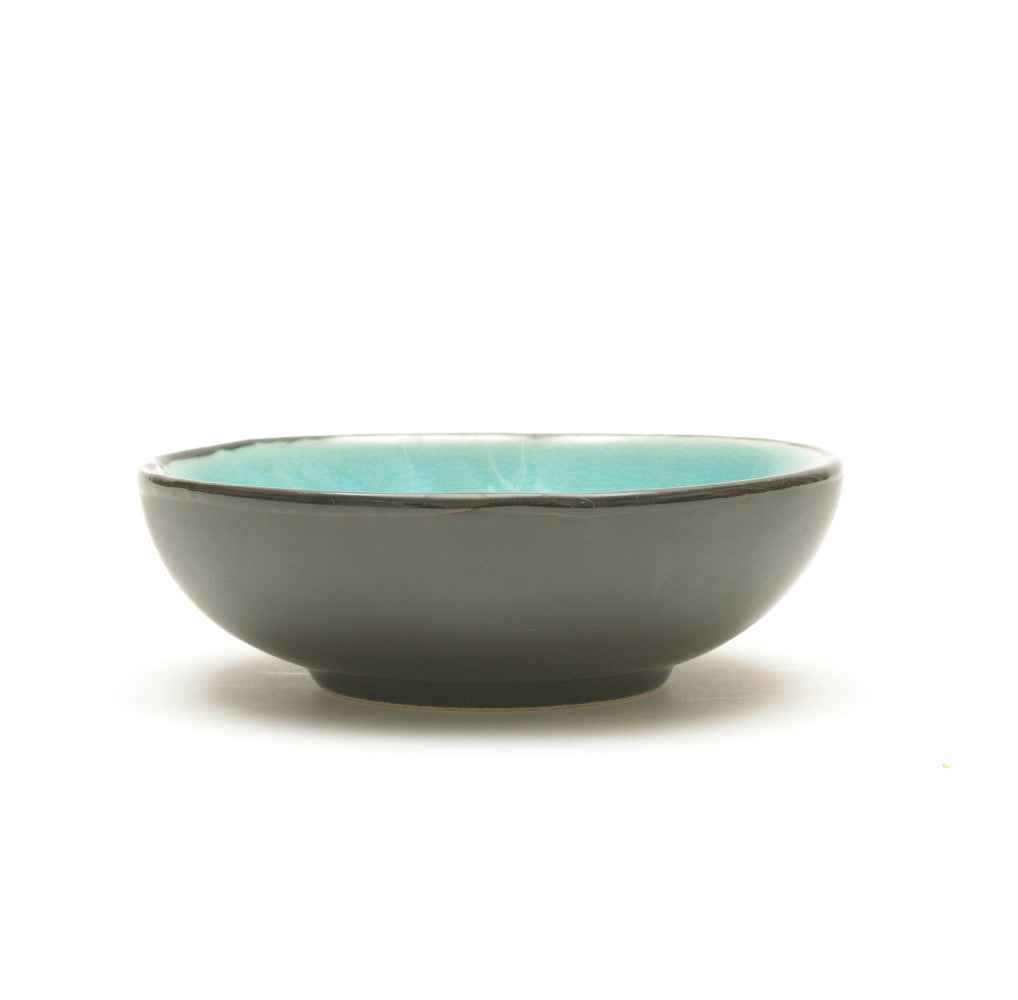 Turquoise Crackle Glass Glaze Dimpled Dish side view