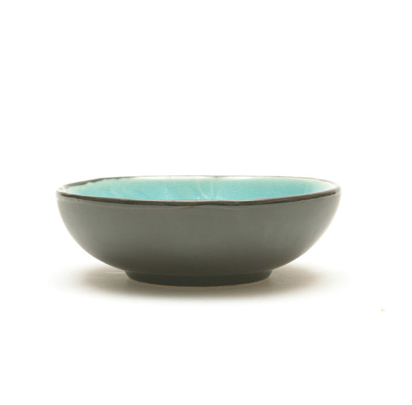 Turquoise Crackle Glass Glaze Dimpled Dish