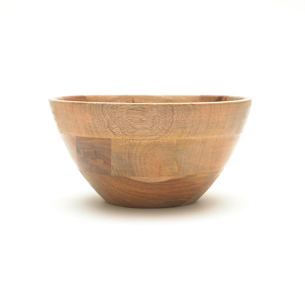 Mango Wood Indus Medium Salad Bowl from Nkuku side view