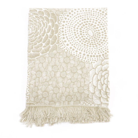 Linen-Cotton Monochrome Floral Throw - Asian Inspired Furniture Accessories Cermaics - Rouge Shop