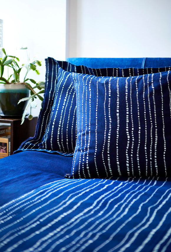 Bed Cover with Indigo & Blue & White Geometric 'Wonky Lines' Pattern - Chinese homewares- Rouge Shop antique stores London - city furniture