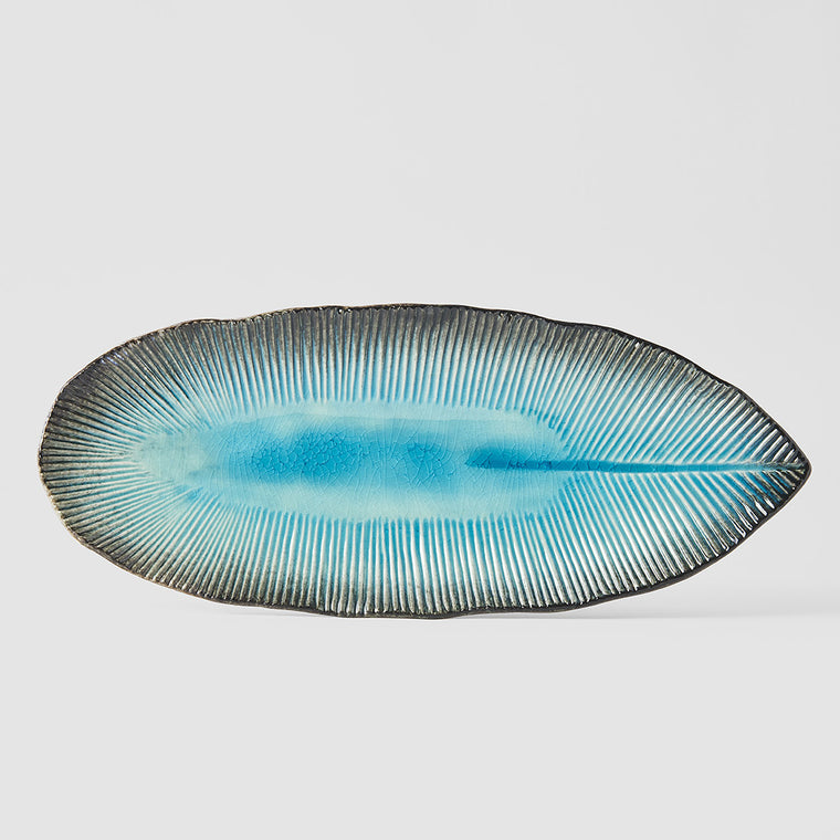 Sky Blue Leaf Serving Plate
