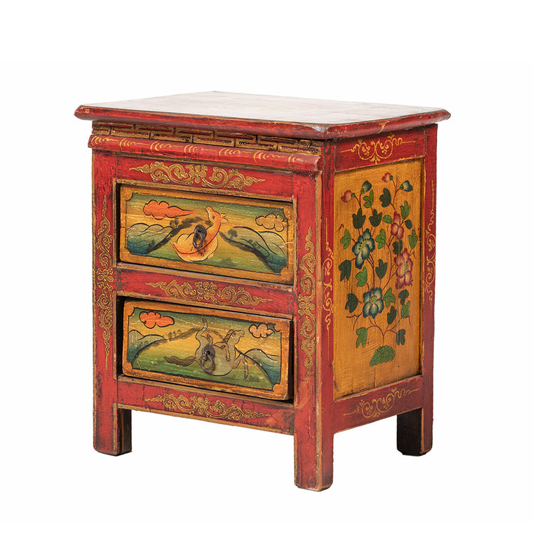Small Vintage Tibetan Cabinet with Flora and Fauna Panels