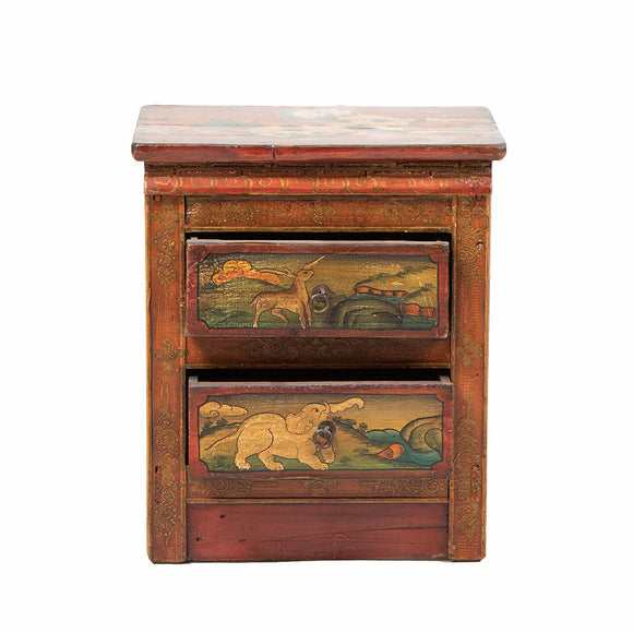Small Vintage Tibetan Cabinet with Snow Lion and Garuda Lion