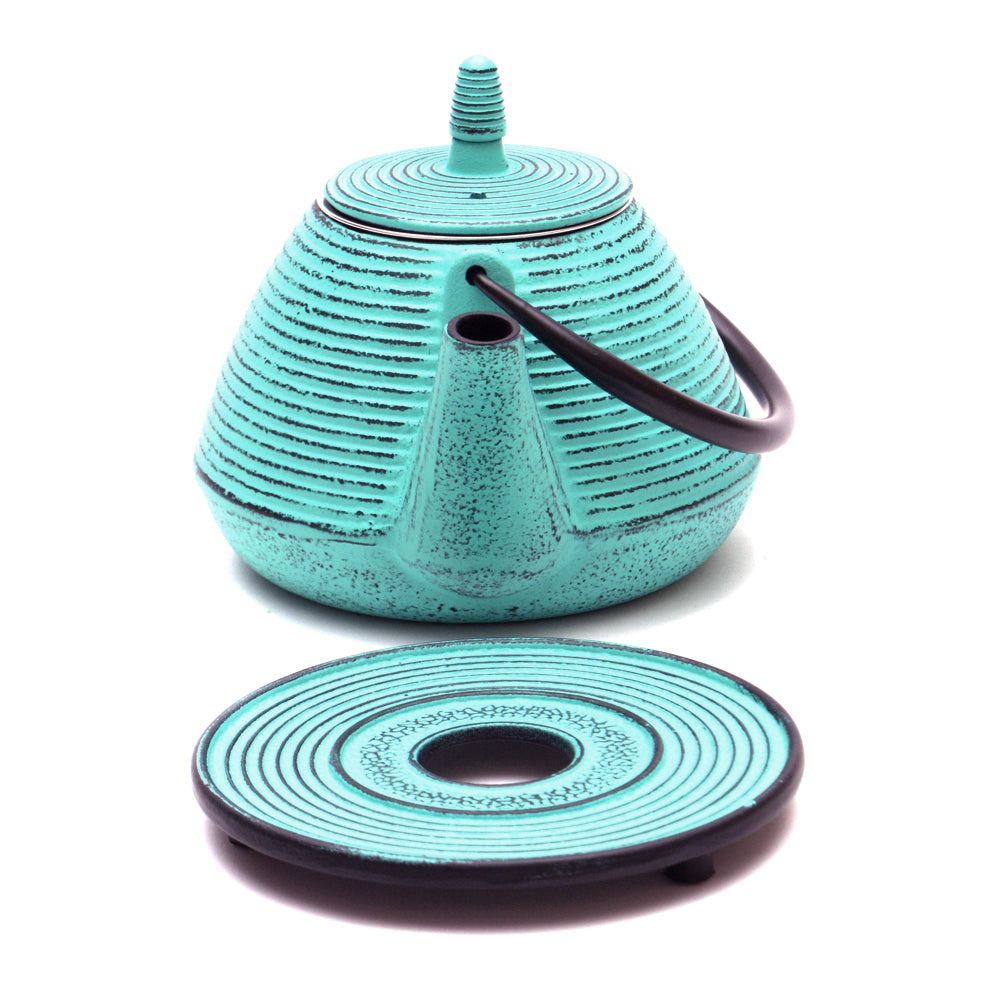 Turquoise Cast Iron Teapot and Trivet