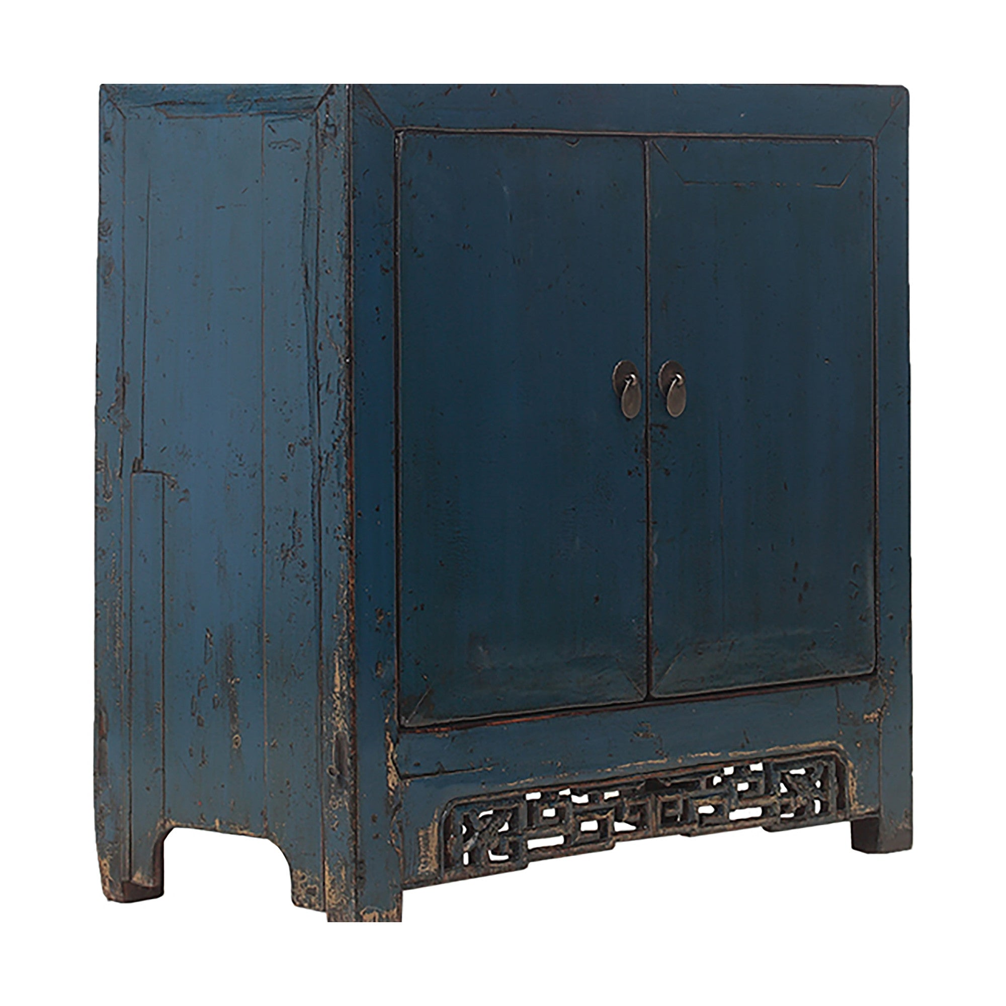 Blue Vintage Chinese Cabinet with Geometric Carvings side view