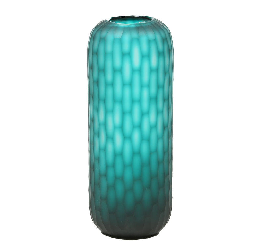 Turquoise Honeycomb Glass Vase – Tall - Chinese homewares- Rouge Shop antique stores London - city furniture