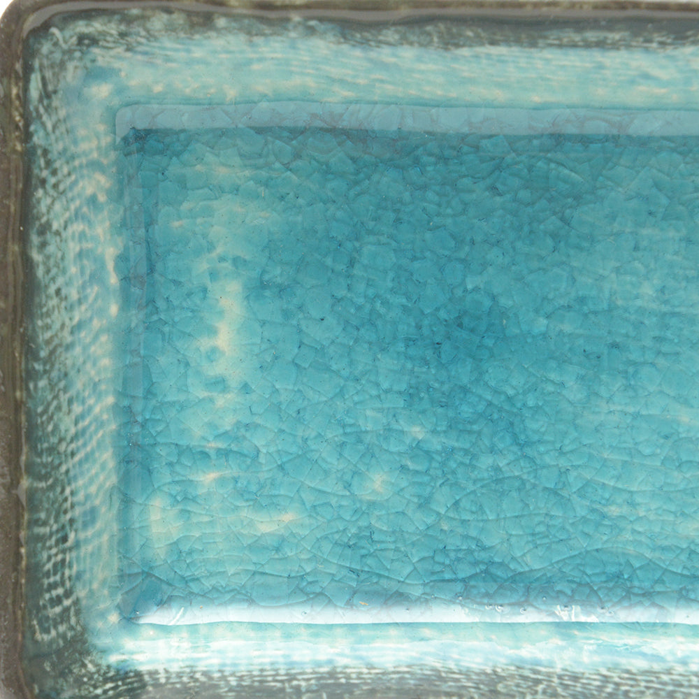 Turquoise Crackle Glass Glaze Dish – Small Rectangular - Chinese homewares- Rouge Shop antique stores London - city furniture